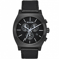 Nixon TIME TELLER CHRONO LEATHER All Black/White