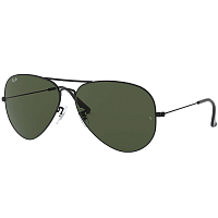 RAY BAN AVIATOR LARGE METAL II BLACK/CRYSTAL GREEN