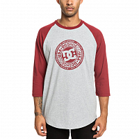 DC RESEARCH 3/4 RA M TEES POMEGRANATE/ GREY HEATER