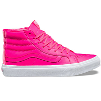 Vans UA SK8-HI SLIM (NEON LEATHER) NEON PINK/TRUE WHITE