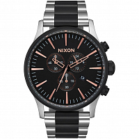 Nixon Sentry Chrono Black/Rose Gold