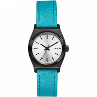 Nixon SMALL TIME TELLER LEATHER SILVER/TURQUOISE