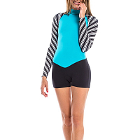 Glidesoul SPRING SUIT 2 MM WITH SHORTS BACK ZIP Stripes Print/Black/Blue