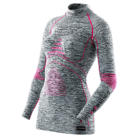 X-Bionic LADY ACC_EVO MELANGE UW SHIRT LG_SL. TURTLE NECK Light Grey Melange/Raspberry
