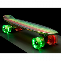 SUNSET SKATEBOARDS RASTA GRIP COMPLETE 22 RASTA STRIPE DECK R/Y/G- RED/GREEN WHEELS