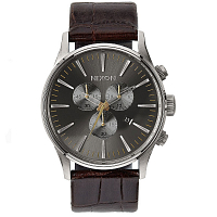 Nixon SENTRY CHRONO LEATHER BROWN GATOR