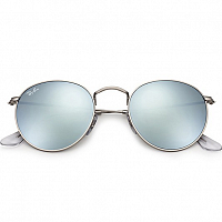 Ray Ban ROUND METAL MATTE SILVER/LIGHT GREEN MIRROR SILVER
