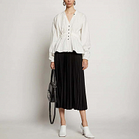 Proenza Schouler White Label Printed Pleated Long Skirt BLACK