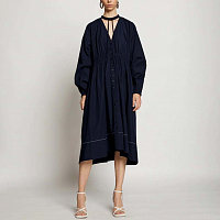 Proenza Schouler White Label Cotton Shirting Shirt Dress MIDNIGHT