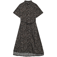 ENGINEERED GARMENTS BD SHIRT DRESS BLACK/BROWN COTTON PAISLEY PRINT