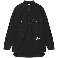 And Wander CORDURA TYPEWRITER LONG SLEEVE OVER SHIRT BLACK