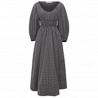 Proenza Schouler White Label Yarn DYE Plaid Full Sleeve Dress BLACK/WHITE
