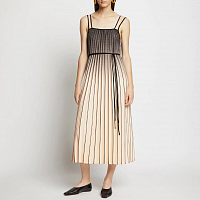 Proenza Schouler White Label Ombre Plaid Pleated Dress NUDE/BLACK OMBRE PLAID