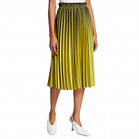Proenza Schouler White Label Ombre Plaid Pleated Skirt OLIVE/BLACK