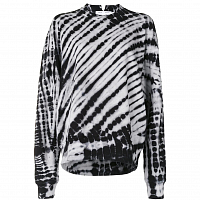 Proenza Schouler White Label TIE DYE Sweatshirt Modified Reglan BLACK/NUDE