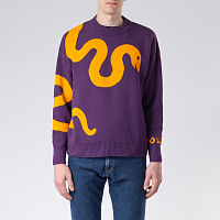 POLAR SKATE CO SNAKE KNIT SWEATER PRUNE/ORANGE