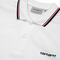 Carhartt WIP S/S Script Embroidery Polo WHITE / ETNA RED / DARK NAVY