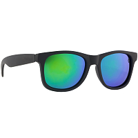 Majesty L+ matt black/polished black with green mirror lenses