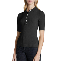 PROENZA SCHOULER WHITE LABLE BOUCLE SHORT SLEEVE POLO BLACK