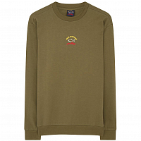 PAUL AND SHARK CHEST LOGO CREW SWEAT MILITARY GREEN